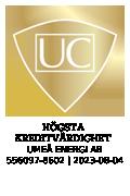 Sigill för Högsta kreditvärdighet från UC