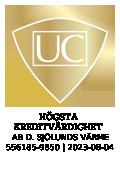 """""""Sigillet är utfärdat av UC AB. Klicka på bilden för information om UC:s Riskklasser."""