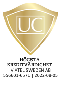 The seal is issued by UC AB. The image is linked to information about UC´s Credit Rating.